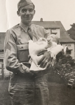 Photo WWII Serviceman SSgt Eugene Darrigan with son Thomas - 1943