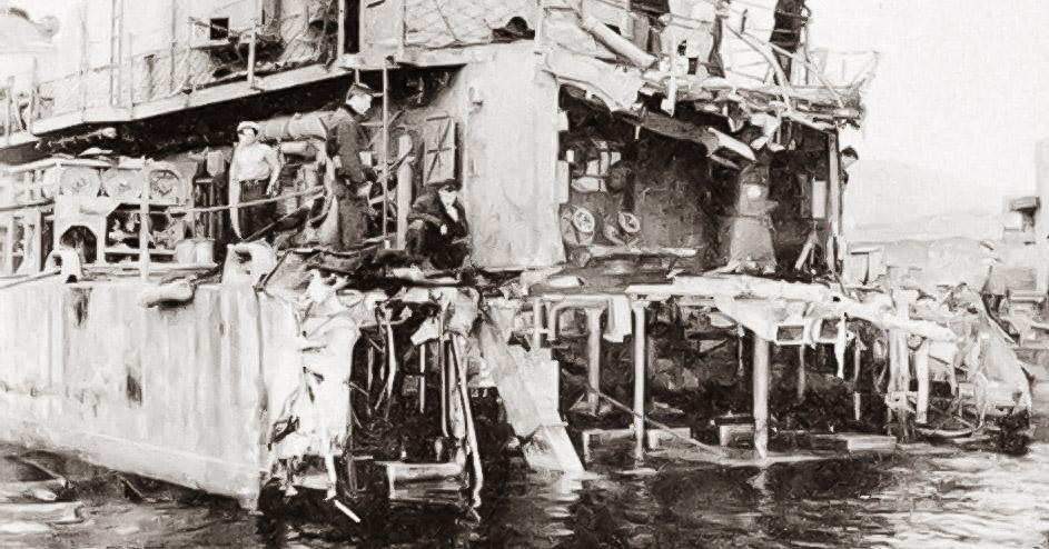 USS Abner Read after striking mine