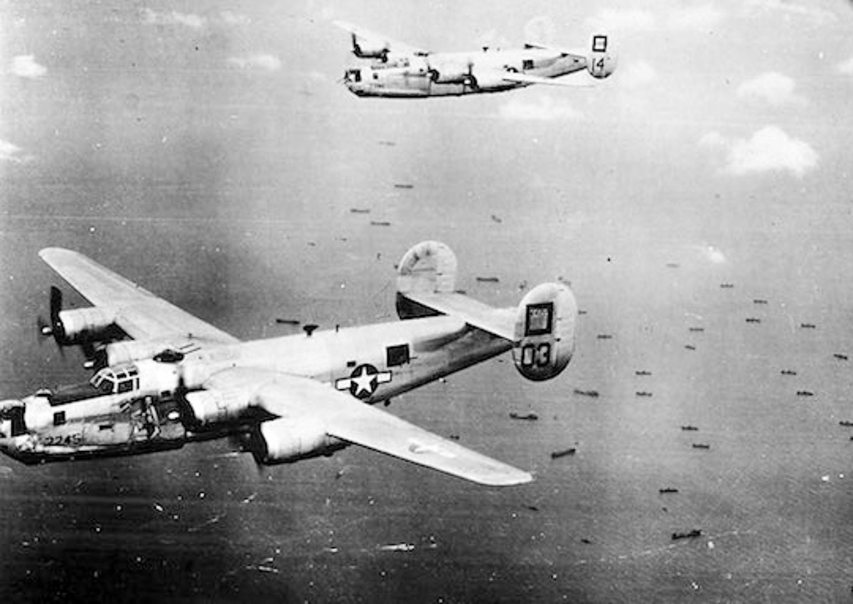 B24's flying in formation over Balikpapan Oct 1944