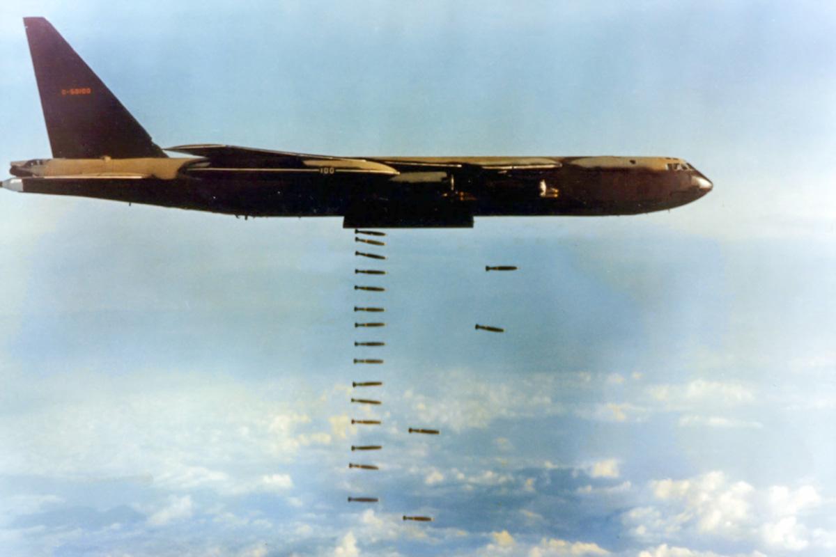 B-52 dropping bombs