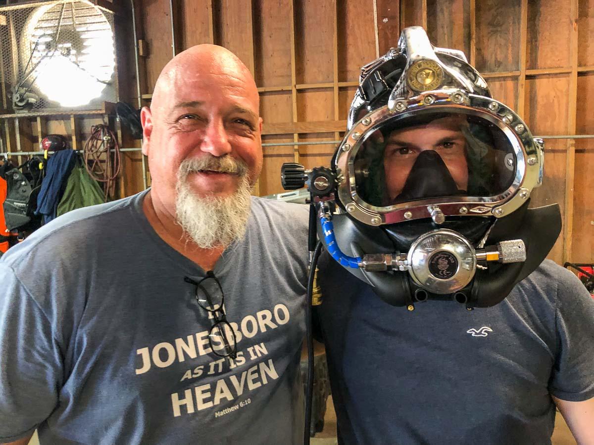 Adam Trying on the Helmet