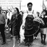 Montgomery, March 25, 1965, Selma-to-Montgomery Voting Rights March. From left: James Baldwin, Joan Baez, Jim Forman, Gwen Patton and Willie McCray