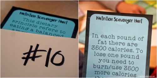 Nutrition Scavenger Hunt - Clue Cards + Folder