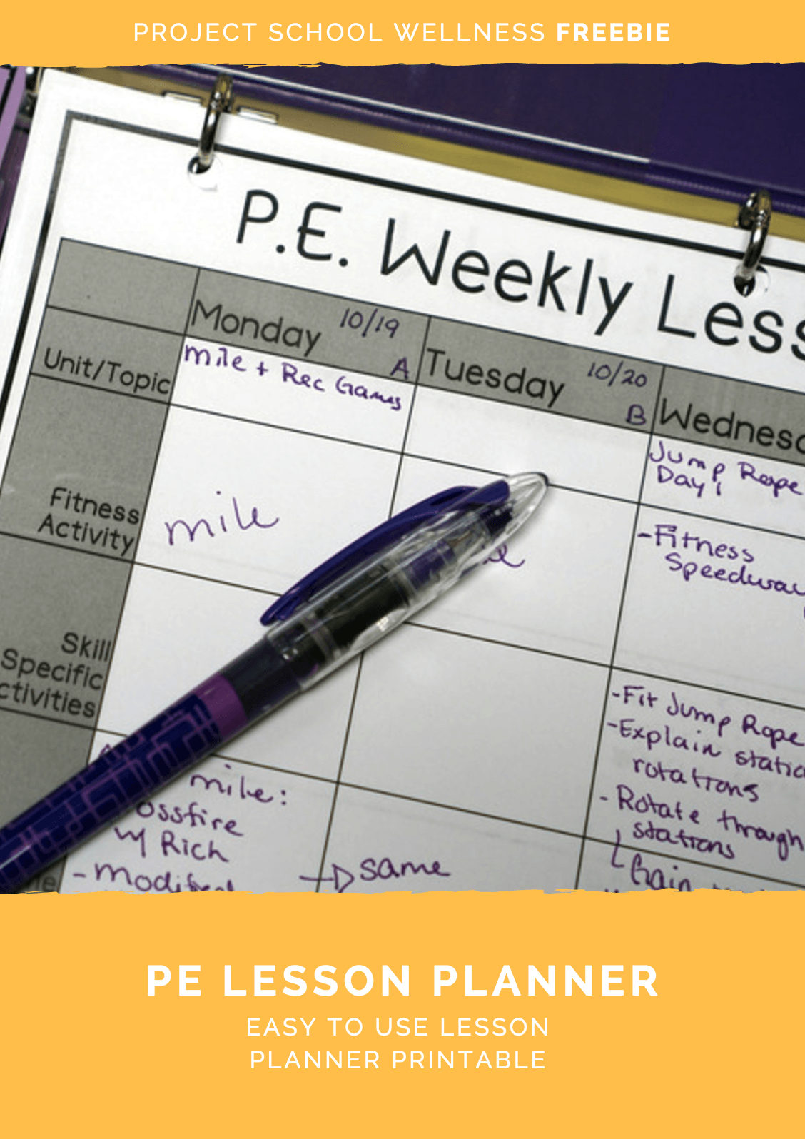 Making lesson planning easier with this PE Weekly Lesson Planner freebie! This is perfect for every PE teacher looking for ways to make lesson and unit planning a more smooth process. Click to download this PE freebie from Project School Wellness!