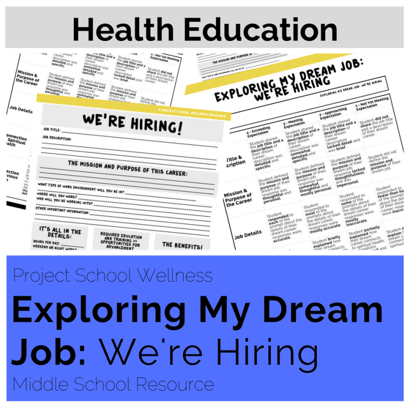 Middle School Health Lesson Plans - - The Exploring My Dream Job: We're Hiring lesson plan is an engaging career exploration activity. During this activity, students do a deep dive into their dream career. They will research a career beyond necessary education and salary.