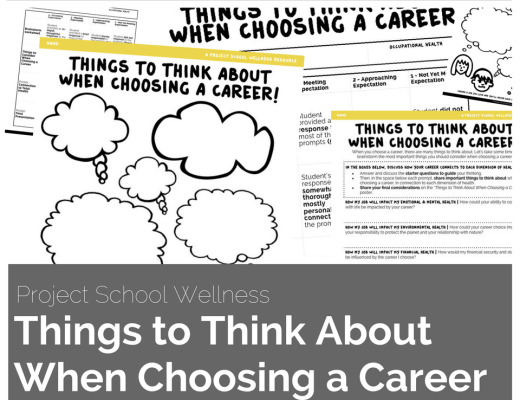 Middle School Health Lesson Plan - No Prep - The Things to Think About When Choosing a Career lesson plan is an engaging career exploration activity. This activity was designed to help students brainstorm important questions to ask when exploring various careers. Students will thoughtfully think about things to what they want from a career in connection to each dimension of health.