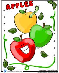A Is For Happy Apple Coloring Page