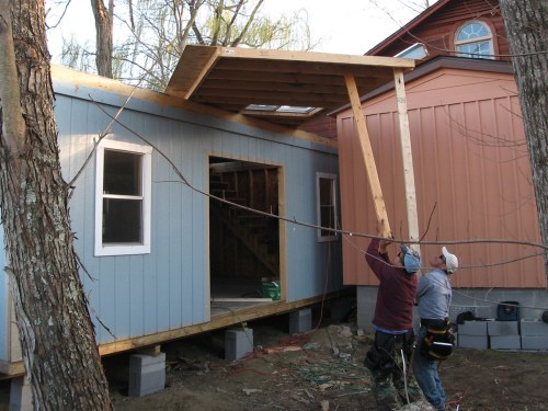 Getting the second floor walls up - Our Classic Manor New Day Cabin - Project Small House
