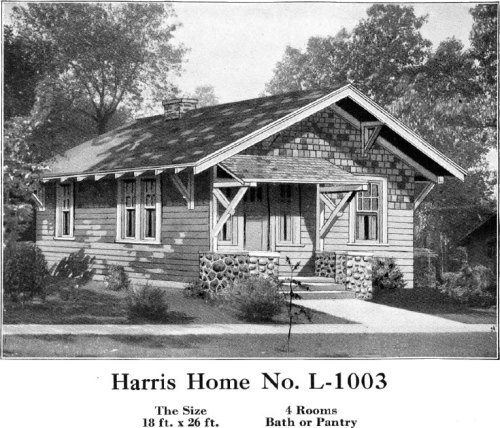 Historic Plans: Small Bungalow Harris Home No. L-1003 18' x 26'