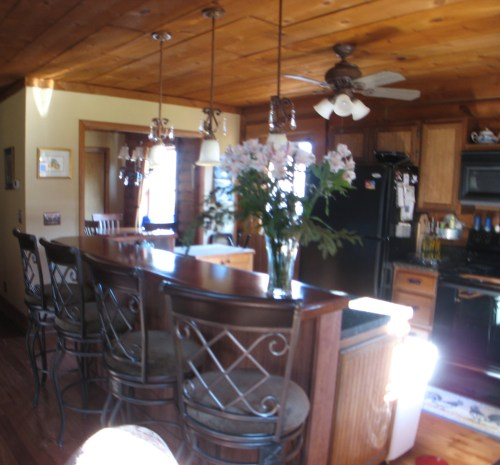 Log Cabin Kitchen Before & After: Work in Progress, Kitchen with new appliances, repaired cabinets and a new bar.