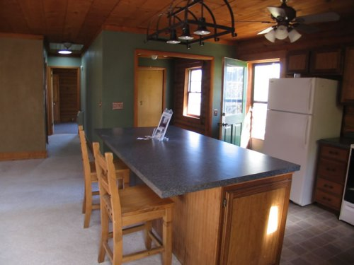 Log Cabin Kitchen Before & After: Kitchen when I first bought the log cabin