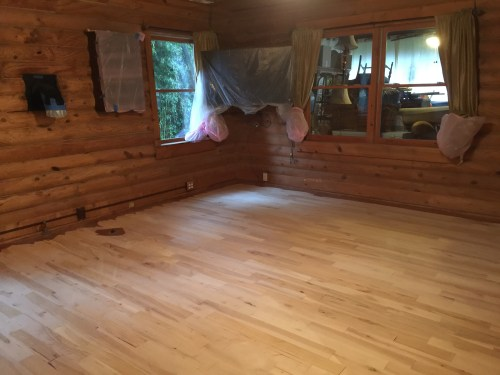 Project Small House - Refinishing Hardwood Floor: The finish is all sanded off of the wood.