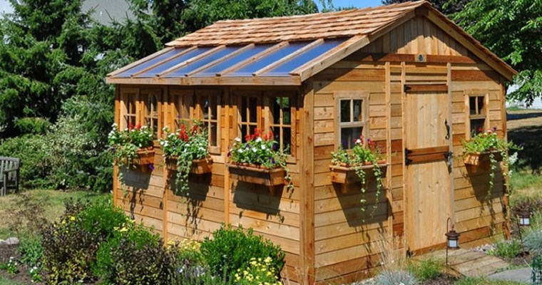 Outdoor Living Today Sunshed 12′ × 12′ Western Red Cedar  Shed Kit