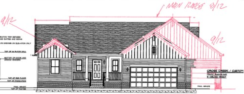 Schumacher Homes Cross Creek Custom Front Elevation with 3-Car Garage and Bonus Room