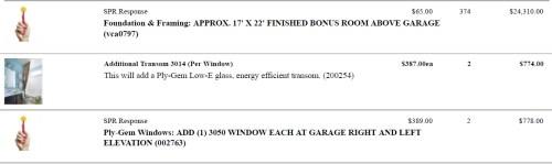 Schumacher Homes Cross Creek Custom Front Elevation with 3-Car Garage and Bonus Room Cost Break Down
