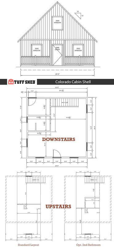 Colorado Cabin Shell - 864 square feet: One Bedroom, One or Two Bathrooms, Kitchen, First Floor Living Area, Second Floor Loft, Utility/Mud Room