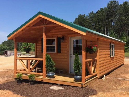 Covered Front Porch - 12' x 24' Modular Log Cabin for under $10,000 - Project Small House