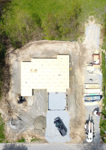 The new floor from the air - Building our Schumacher Home