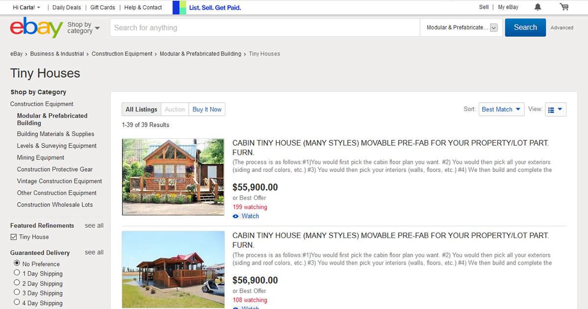 Tiny Houses on eBay