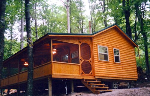 Optional Screened Porch on White Tail Log Cabin – Project Small House