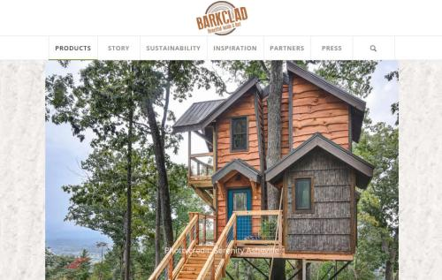 Barkclad Website has a photo of Treehouse of Serenity - Tree House in Asheville – Project Small House