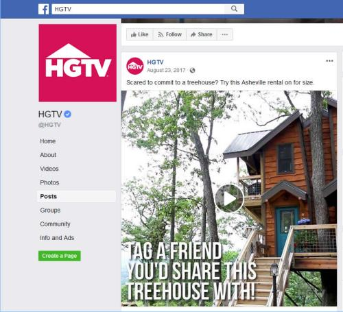 HGTV on Facebook Post about Treehouse of Serenity - Tree House in Asheville – Project Small House