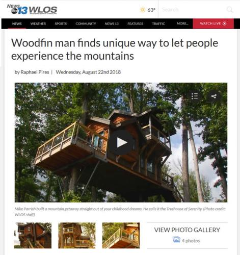 WLOS: Woodfin man finds unique way to let people experience the mountains - Tree House in Asheville – Project Small House