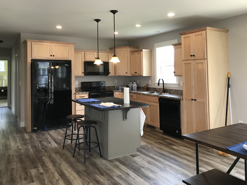Kitchen with Counter-height Bar - New Modular at Premier Homes of the Carolinas – Project Small House