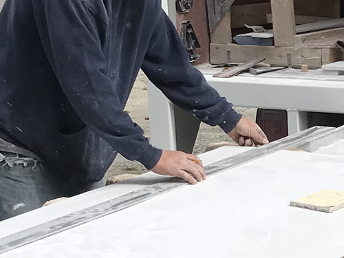 Drawing lines for the cuts - Cultured Marble Vanity Tops and Tub Surround – Project Small House