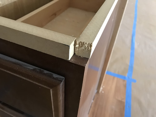 Wood supports for counter - Cobalt Blue Corian Countertops in the Kitchen - Schumacher Homes Cross Creek – Project Small House