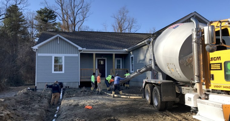 Putting in the Driveway, Carport and Sidewalk
