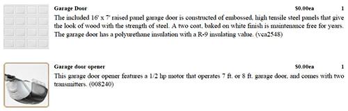 Garage Door and Garage Door Opener details on Contract – Building our Schumacher Home – Project Small House