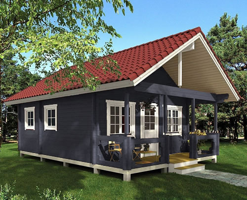 Allwood Timberline Cabin in dark slate gray opaque stain with a red barrel tile look metal roof. - Allwood Timberline Cabin in dark slate gray opaque stain with a red barrel tile look metal roof. - Timberline 483 Square Foot Cabin Kit – Project Small House