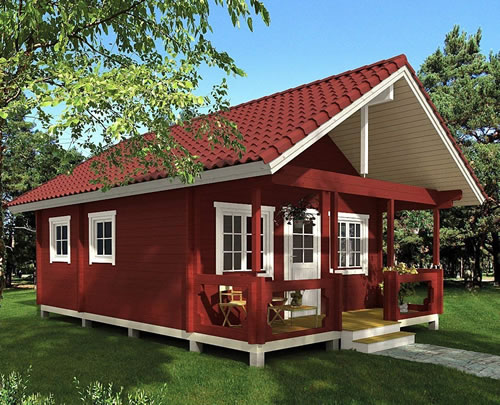 Allwood Timberline Cabin in barn red opaque stain with a red barrel tile look metal roof. - Timberline 483 Square Foot Cabin Kit – Project Small House
