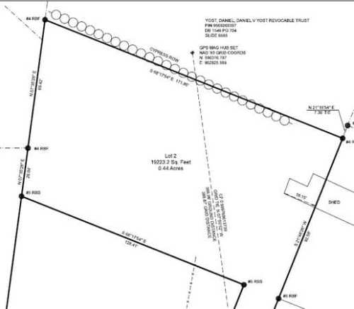 .44 acre - Zoned for one house or two houses.You will see a house on the right. - Land For Sale: .44 acre In Druid Hills, Hendersonville, NC – Project Small House