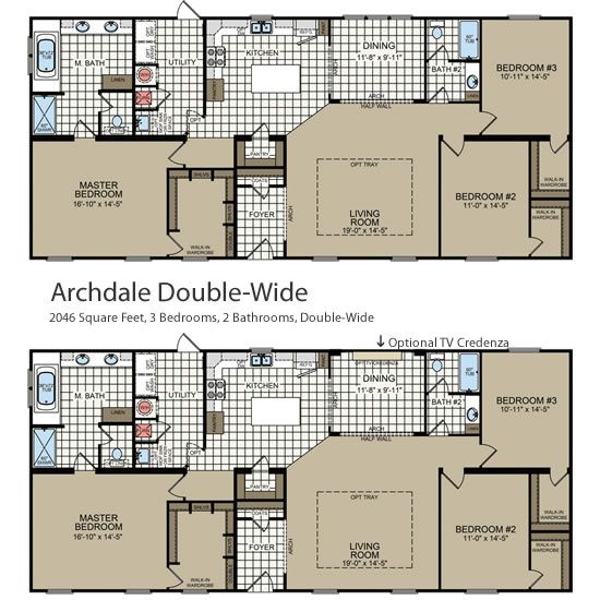 The Two Optional Floorplans for the Archdale Double Wide - Archdale Modular or Double Wide – Project Small House