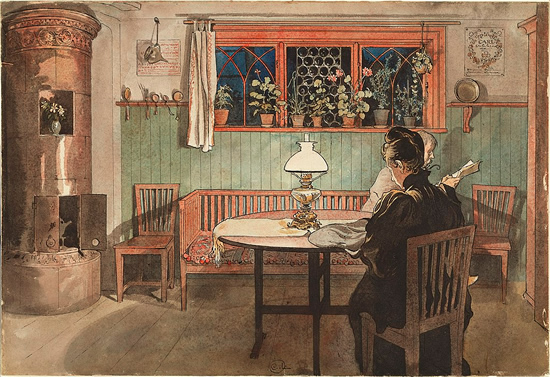 When the Children have Gone to Bed by Carl Larsson - Swedish Kachelofen – Project Small House