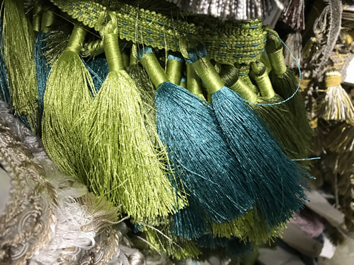 Trim with tassels in chartreuse and teal. - Foam & Fabric Outlet - Project Small House