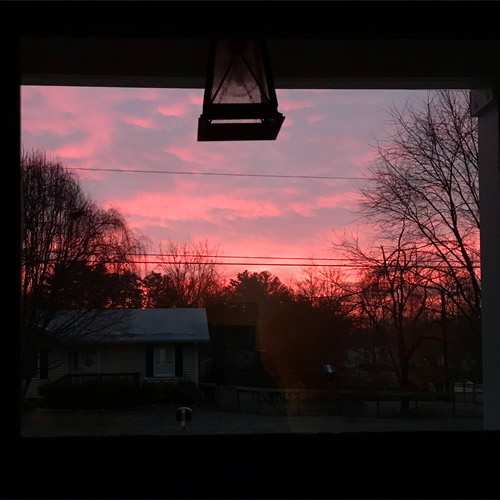 Sunrise through the window in the front door - Getting Settled and Enjoying Spring – Project Small House