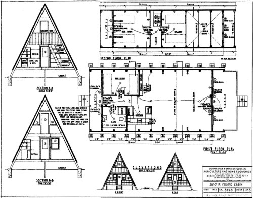 A-Frame plans for a 36' A-Frame Cabin, from the Cooperative Extension associated with North Carolina State University