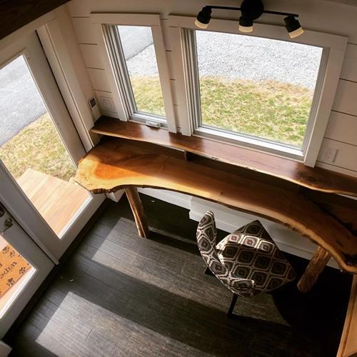 Live Edge custom desk - Blue Ridge Tiny Homes Little Red Tiny Towable