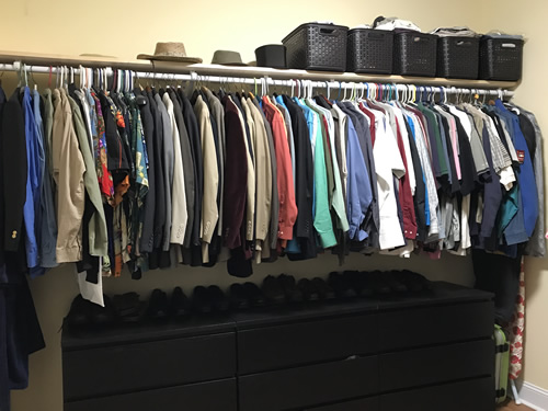Cliff's side of the closet.