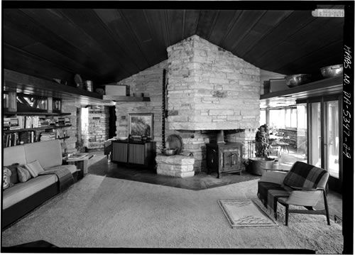 Historic photo of the Midcentury Modern Interior of Frank Lloyd Wright's Kentuck Knob
