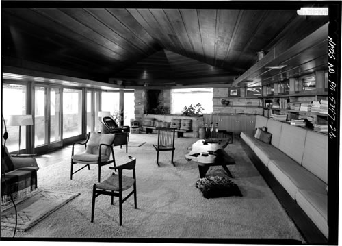 Historic photo of the Midcentury Modern Interior of Frank Lloyd Wright's Kentuck Knob