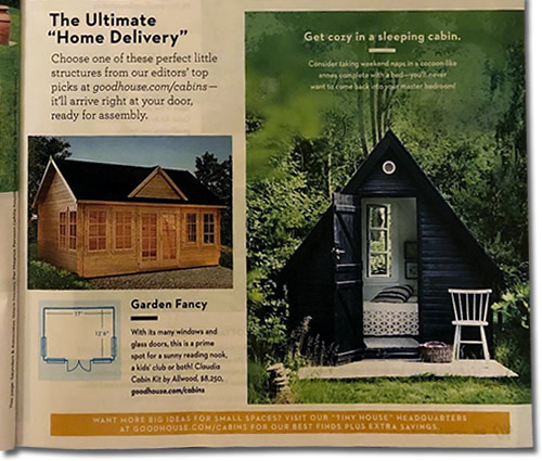 "The Ultimate ""Home Delivery"" Tiny House Special Good Housekeeping magazine August 2019"