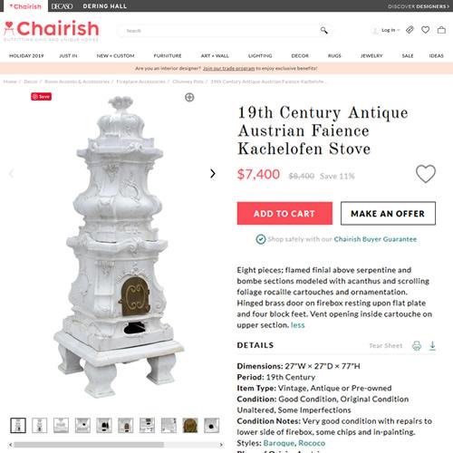 19th Century Antique Austrian Faience Kachelofen Stove on Chairish