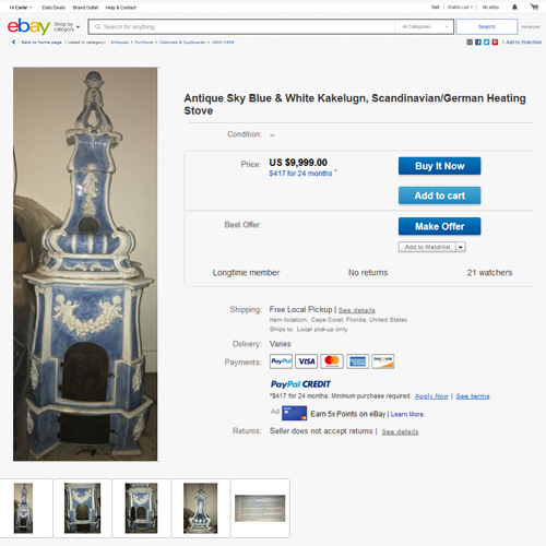 Antique Sky Blue & White Kakelugn, Scandinavian/German Heating Stove on eBay