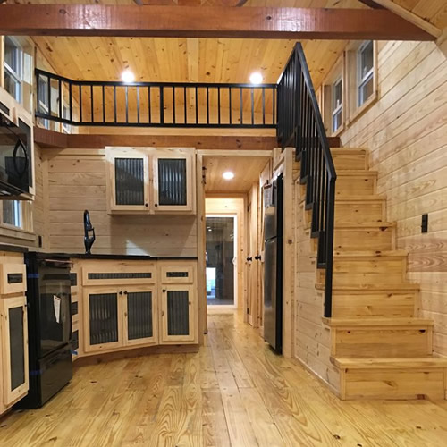 Wow! What a kitchen! Interior view of a completed log cabin from Avery Cabin Co