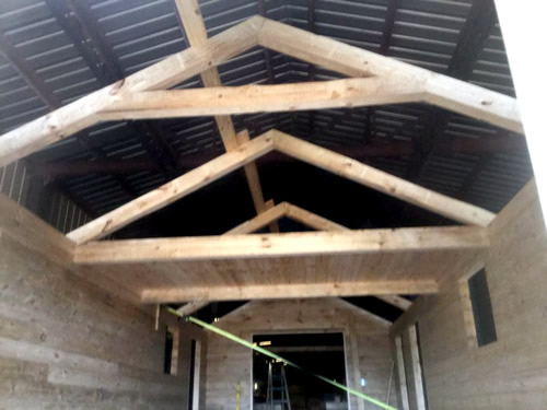 Construction on a park model log cabin