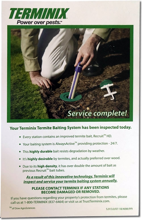 Terminix Sentricon Termite Colony Elimination System Bait Stations Report